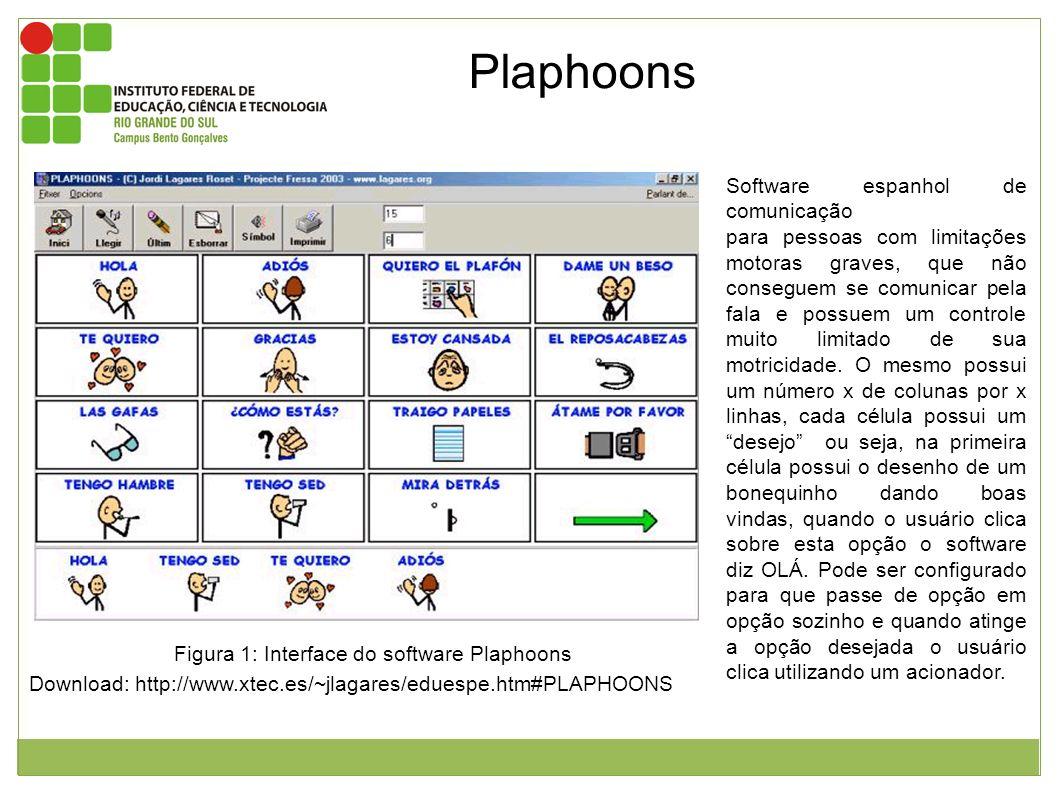 Figura 1: Interface do software Plaphoons Download: http://www.xtec.es/~jlagares/eduespe.htm#PLAPHOONS Software espanhol de comunicação para pessoas c