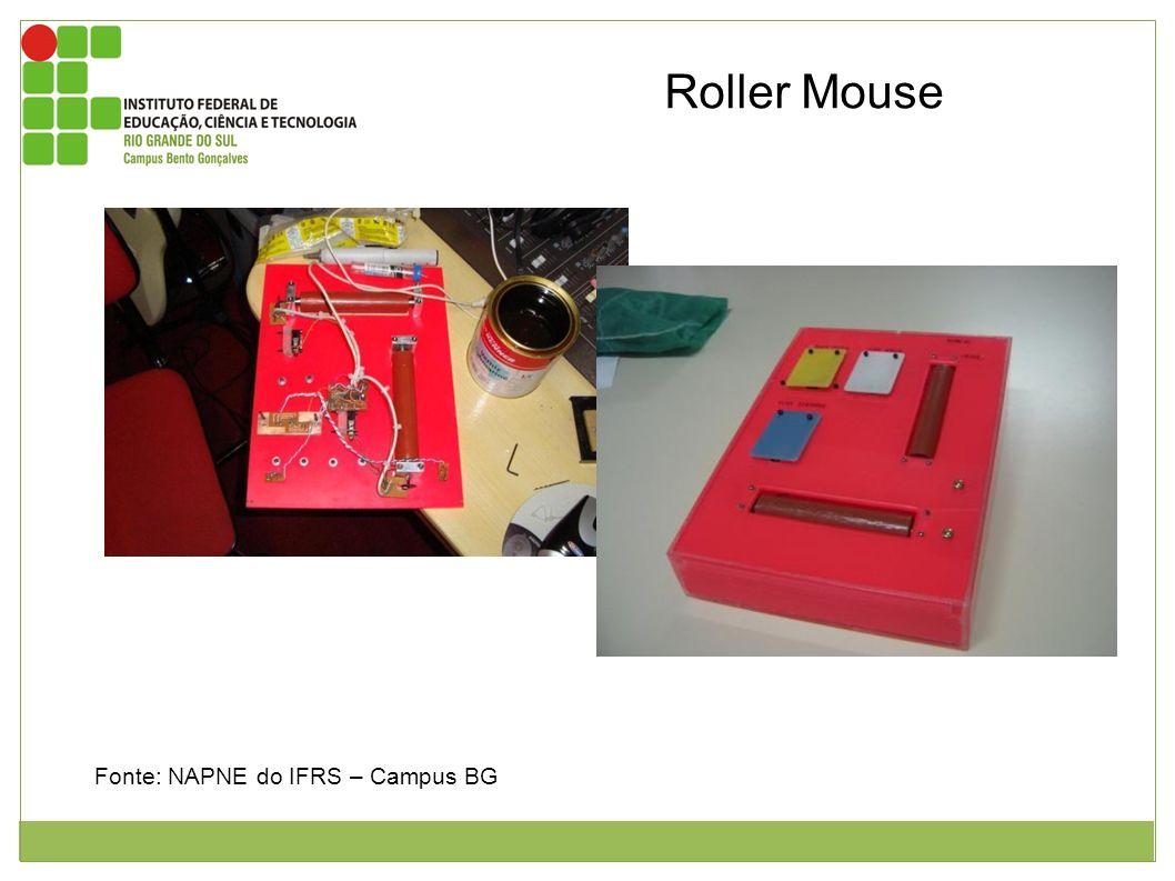 Roller Mouse Foto mostrando a parte interior do roller mouse. O mesmo está sobre um rack de computador. Do seu lado direito possui uma lata de verniz