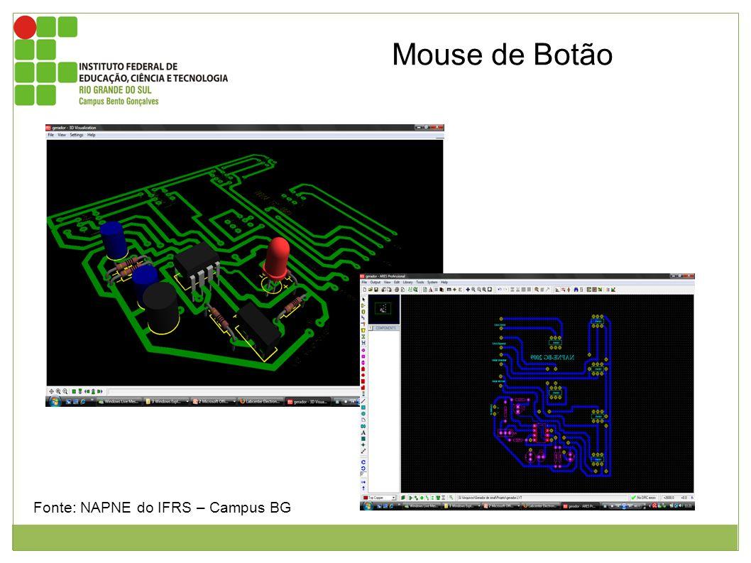 Mouse de Botão Figuras 1 e 2 mostrando o esquema eletrônico do mouse de botão. Fonte: NAPNE do IFRS – Campus BG