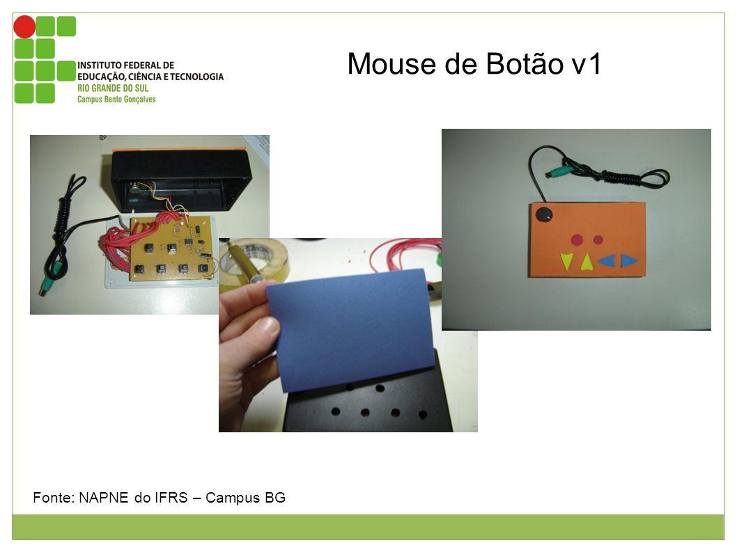 Figura 1: Mostra a parte interna do mouse de botão. Figura 2: Mostra a adaptação do EVA na face do mouse tendo a mão do técnico segurando o EVA sobre