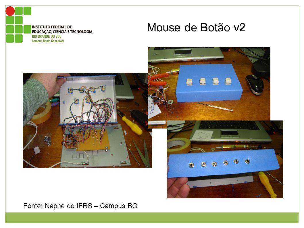 Mouse de Botão v2 Figura 1: Interior do mouse de botão v2. Figura 2: Colagem do evea na superfície do mouse e colocação dos botões. Figura 3: Parte tr