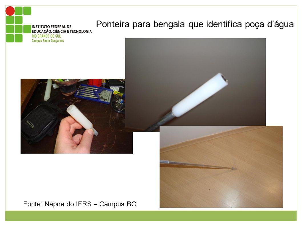 Ponteira para bengala que identifica poça dágua Figura 1: imagem da ponteira da bengala medindo 20 centímetros por 10 centímetros de diâmetro com furo