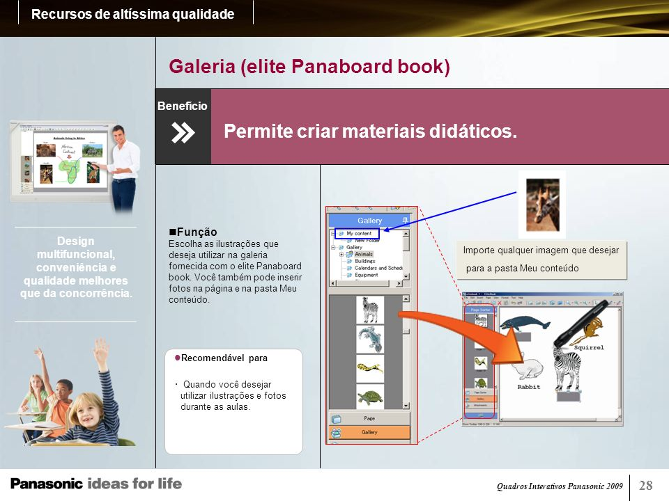 Quadros Interativos Panasonic 2009 29 Exportação para PDF (elite Panaboard book) Permite salvar e compartilhar facilmente os dados da tela.