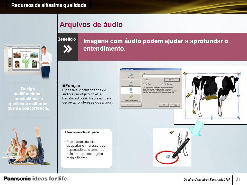 Quadros Interativos Panasonic 2009 32 Anexos (elite Panaboard book) Arquivos e sites designados podem ser acessados rapidamente.
