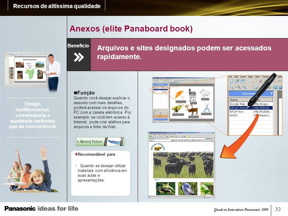Quadros Interativos Panasonic 2009 34 Sem uso de chumbo ou outros produtos químicos* Não agride o meio ambiente.