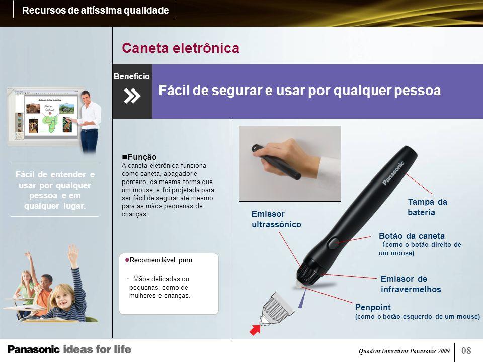 Quadros Interativos Panasonic 2009 09 Ajuste de altura Ajusta-se de acordo com a altura do operador.