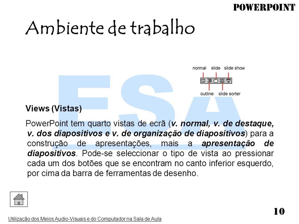 PowerPoint Utilização dos Meios Audio-Visuais e do Computador na Sala de Aula 10 Views (Vistas) PowerPoint tem quarto vistas de ecrã (v. normal, v. de