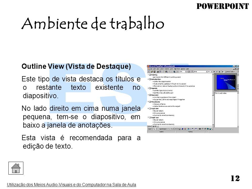 PowerPoint Utilização dos Meios Audio-Visuais e do Computador na Sala de Aula 12 Outline View (Vista de Destaque) Este tipo de vista destaca os título