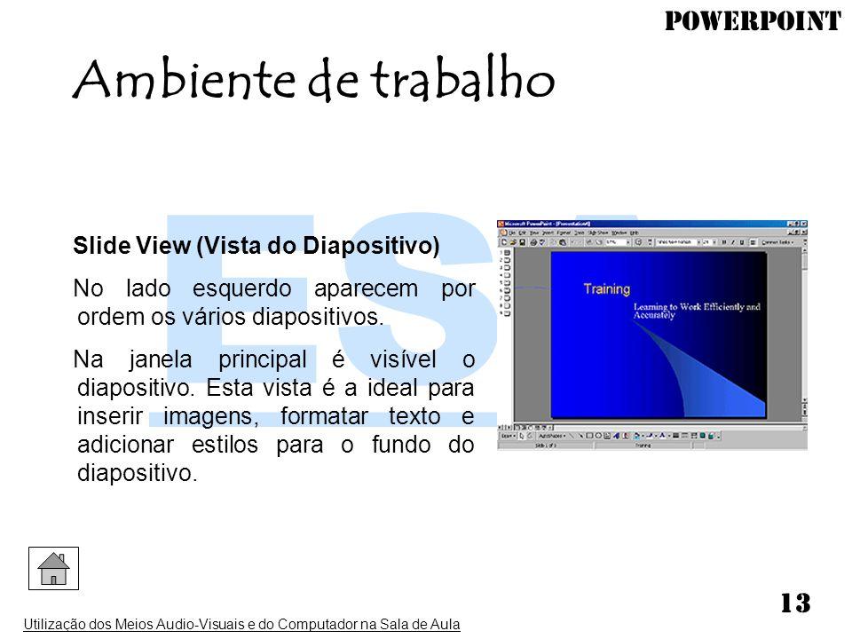 PowerPoint Utilização dos Meios Audio-Visuais e do Computador na Sala de Aula 13 Slide View (Vista do Diapositivo) No lado esquerdo aparecem por ordem