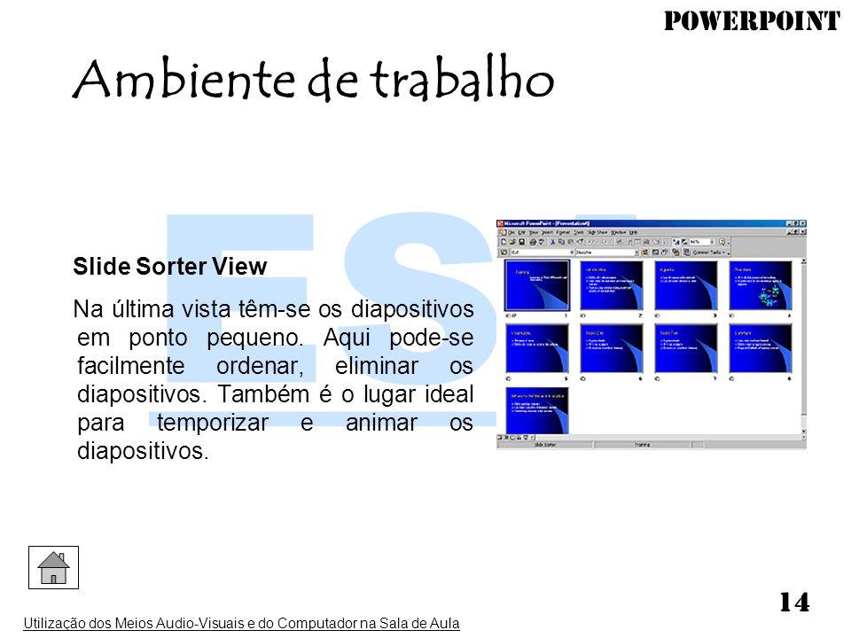 PowerPoint Utilização dos Meios Audio-Visuais e do Computador na Sala de Aula 14 Slide Sorter View Na última vista têm-se os diapositivos em ponto peq