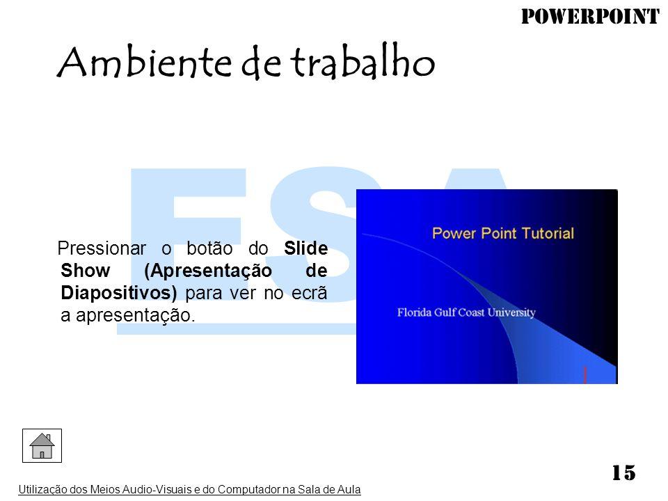 PowerPoint Utilização dos Meios Audio-Visuais e do Computador na Sala de Aula 15 Pressionar o botão do Slide Show (Apresentação de Diapositivos) para