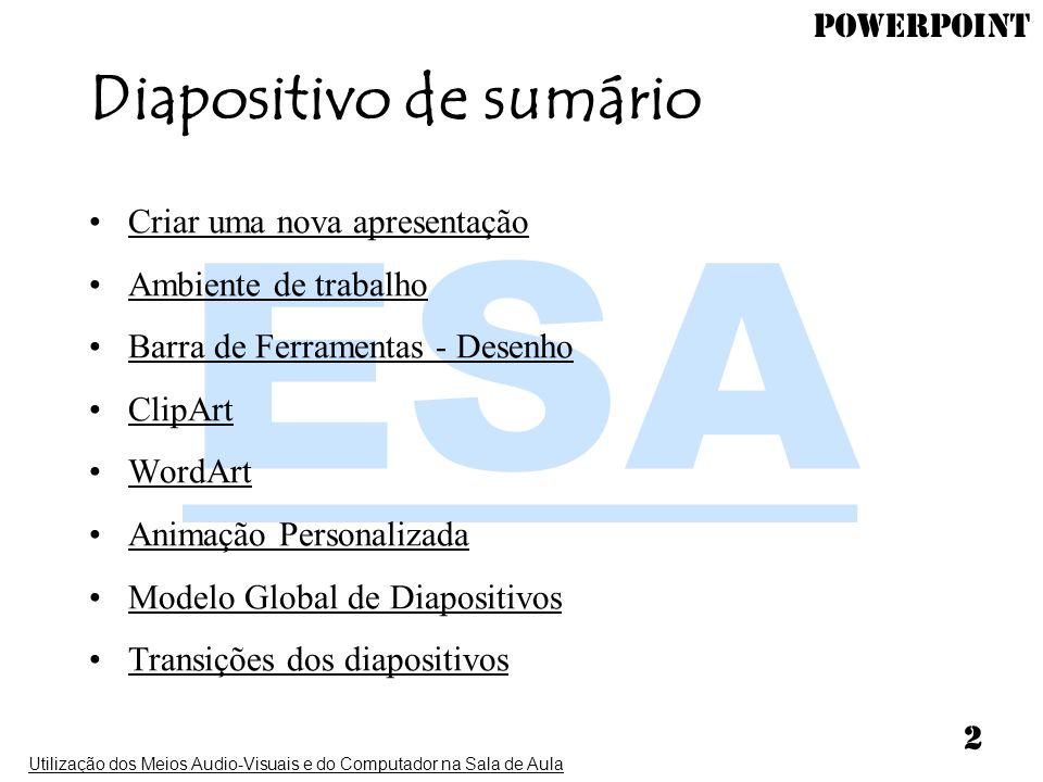 PowerPoint Utilização dos Meios Audio-Visuais e do Computador na Sala de Aula 2 Diapositivo de sumário Criar uma nova apresentação Ambiente de trabalh