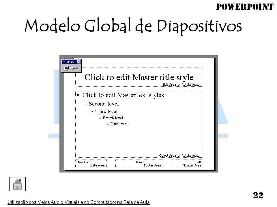 PowerPoint Utilização dos Meios Audio-Visuais e do Computador na Sala de Aula 22 Modelo Global de Diapositivos