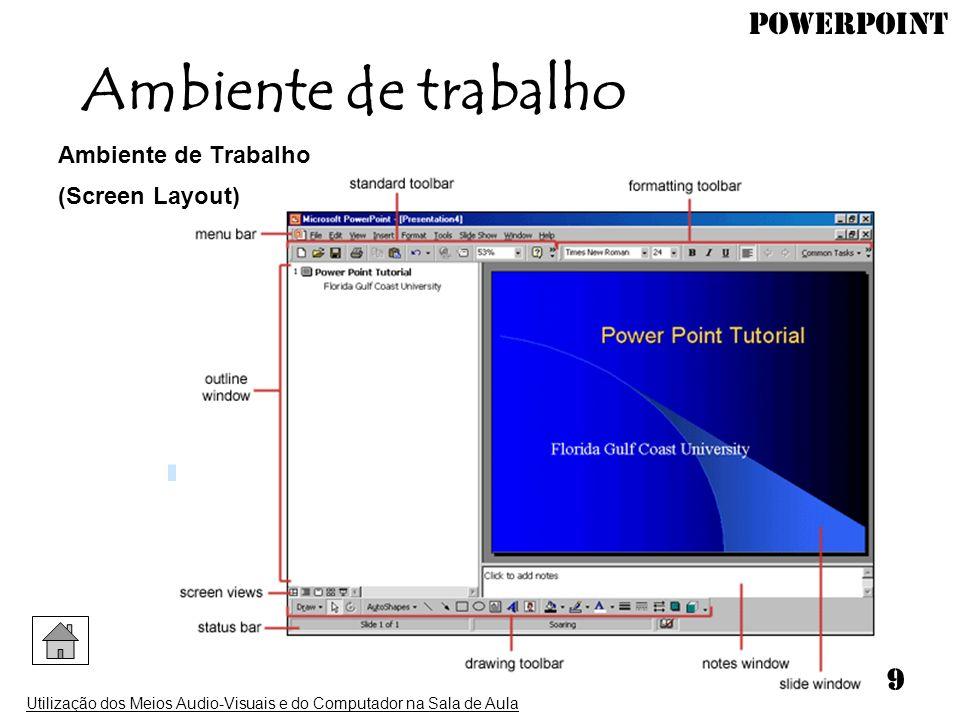 PowerPoint Utilização dos Meios Audio-Visuais e do Computador na Sala de Aula 9 Ambiente de trabalho Ambiente de Trabalho (Screen Layout)