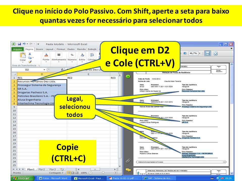 Clique no início do Polo Passivo. Com Shift, aperte a seta para baixo quantas vezes for necessário para selecionar todos Clique em D2 e Cole (CTRL+V)