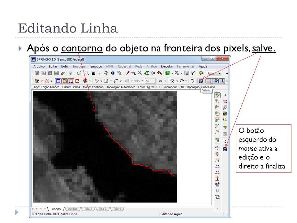 Editando Linha Após o contorno do objeto na fronteira dos pixels, salve. O botão esquerdo do mouse ativa a edição e o direito a finaliza
