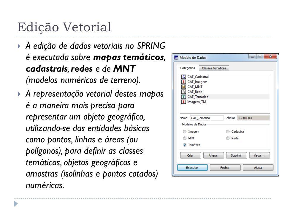 Edição Vetorial A edição de dados vetoriais no SPRING é executada sobre mapas temáticos, cadastrais, redes e de MNT (modelos numéricos de terreno). A