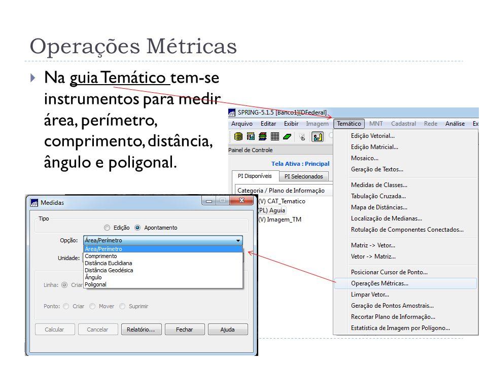 Operações Métricas Na guia Temático tem-se instrumentos para medir área, perímetro, comprimento, distância, ângulo e poligonal.