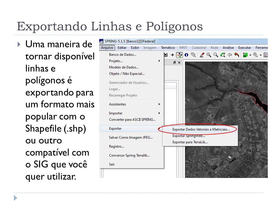 Exportando Linhas e Polígonos Uma maneira de tornar disponível linhas e polígonos é exportando para um formato mais popular com o Shapefile (.shp) ou