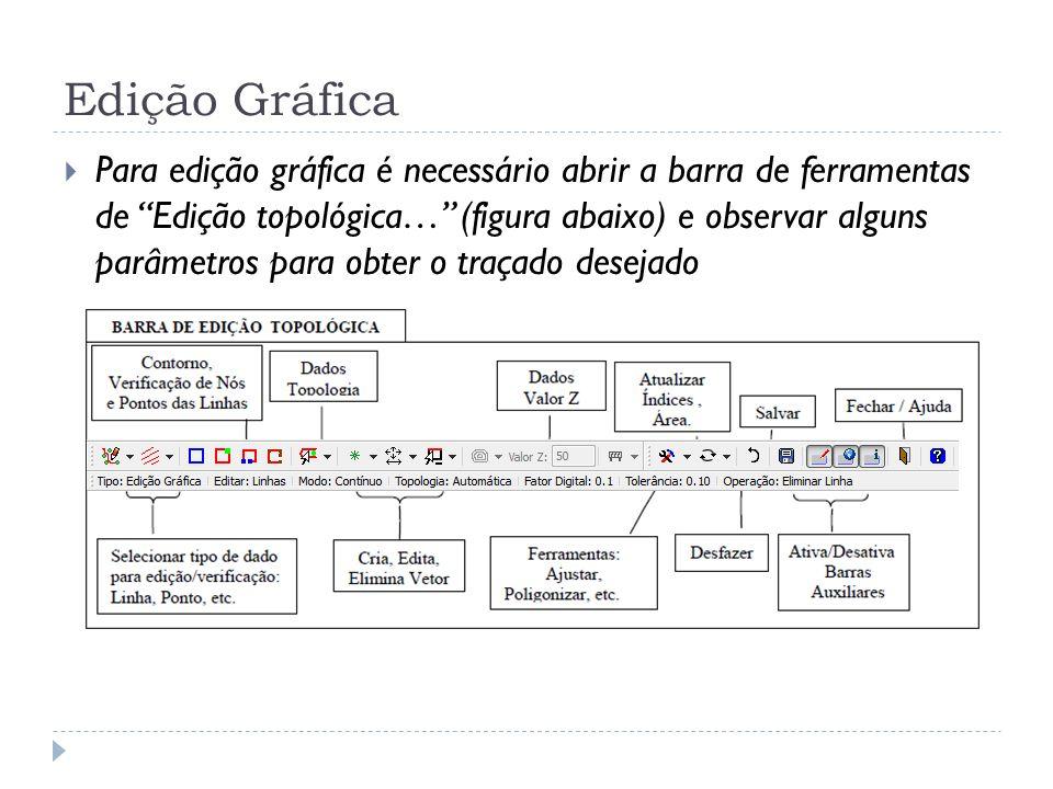 Edição Gráfica Para edição gráfica é necessário abrir a barra de ferramentas de Edição topológica… (figura abaixo) e observar alguns parâmetros para o