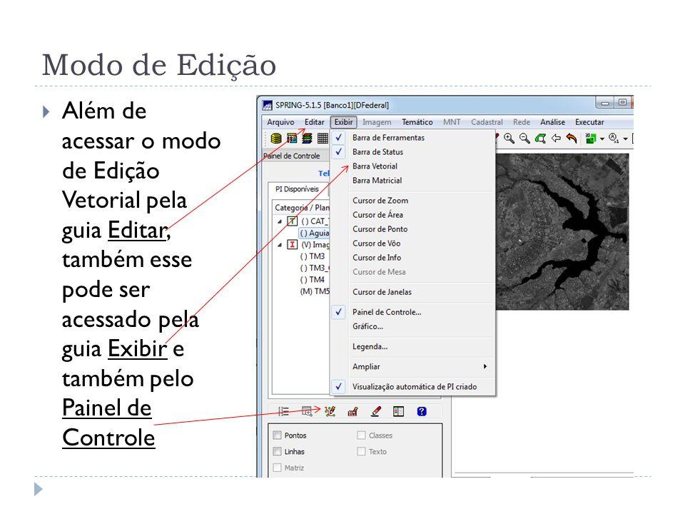 Além de acessar o modo de Edição Vetorial pela guia Editar, também esse pode ser acessado pela guia Exibir e também pelo Painel de Controle