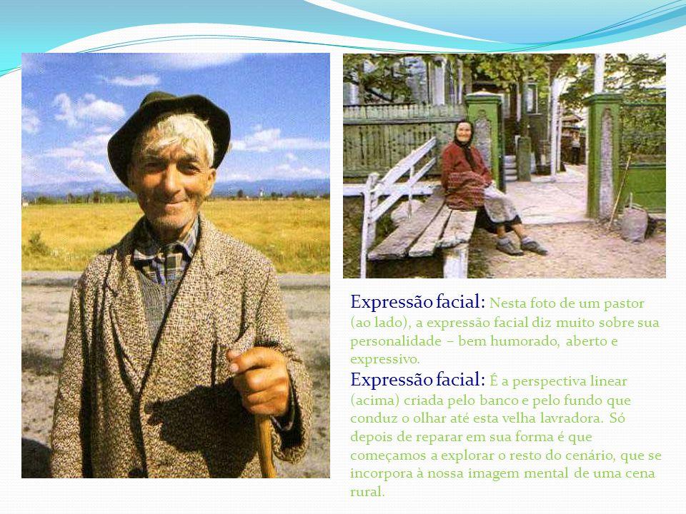Expressão facial: Nesta foto de um pastor (ao lado), a expressão facial diz muito sobre sua personalidade – bem humorado, aberto e expressivo. Express