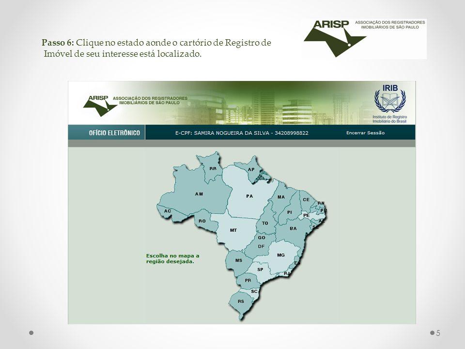 Passo 6: Clique no estado aonde o cartório de Registro de Imóvel de seu interesse está localizado.