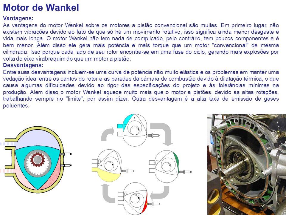 Motor de Wankel Vantagens: As vantagens do motor Wankel sobre os motores a pistão convencional são muitas. Em primeiro lugar, não existem vibrações de