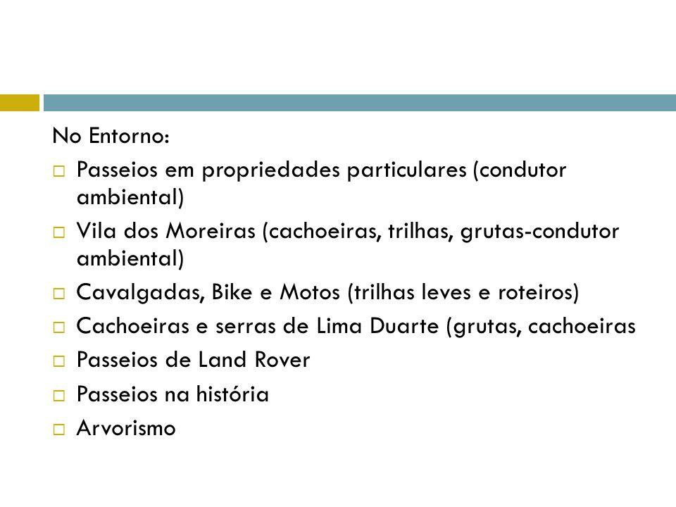 No Entorno: Passeios em propriedades particulares (condutor ambiental) Vila dos Moreiras (cachoeiras, trilhas, grutas-condutor ambiental) Cavalgadas,