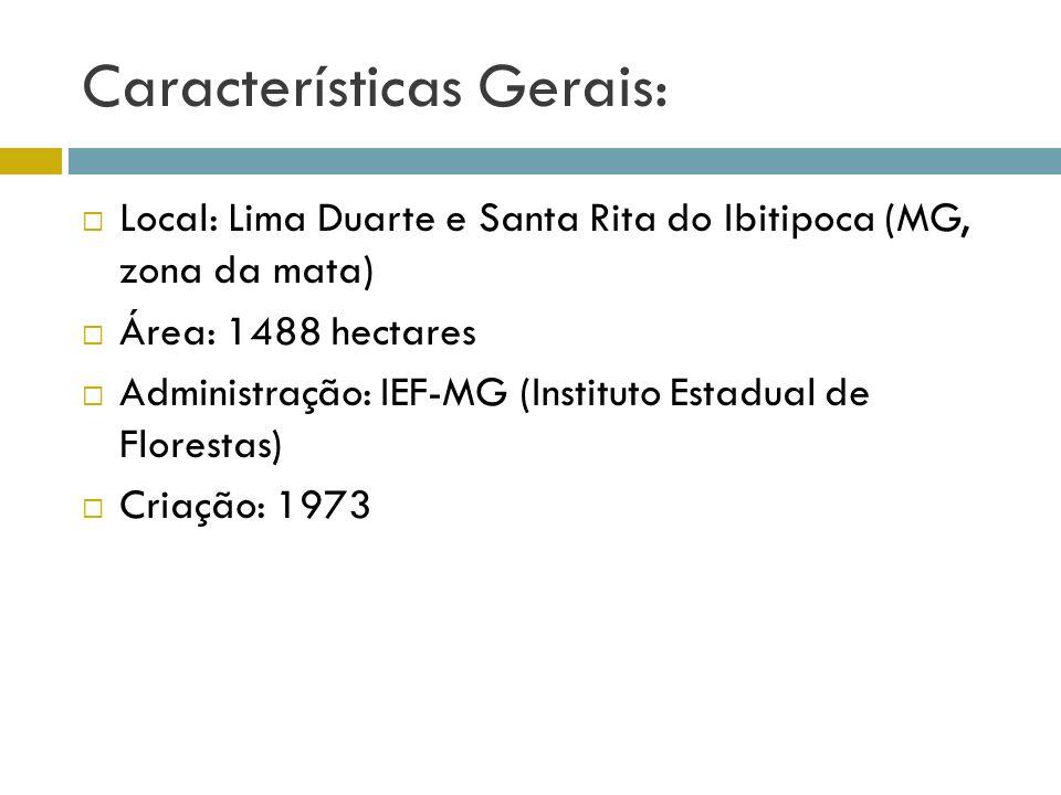 Características Gerais: Local: Lima Duarte e Santa Rita do Ibitipoca (MG, zona da mata) Área: 1488 hectares Administração: IEF-MG (Instituto Estadual