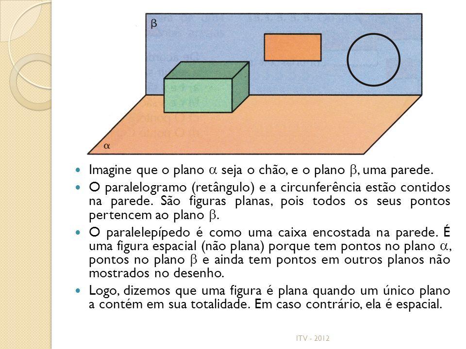 Imagine que o plano seja o chão, e o plano, uma parede. O paralelogramo (retângulo) e a circunferência estão contidos na parede. São figuras planas, p