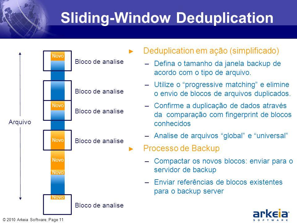 Sliding-Window Deduplication © 2010 Arkeia Software, Page 11 Deduplication em ação (simplificado) –Defina o tamanho da janela backup de acordo com o tipo de arquivo.