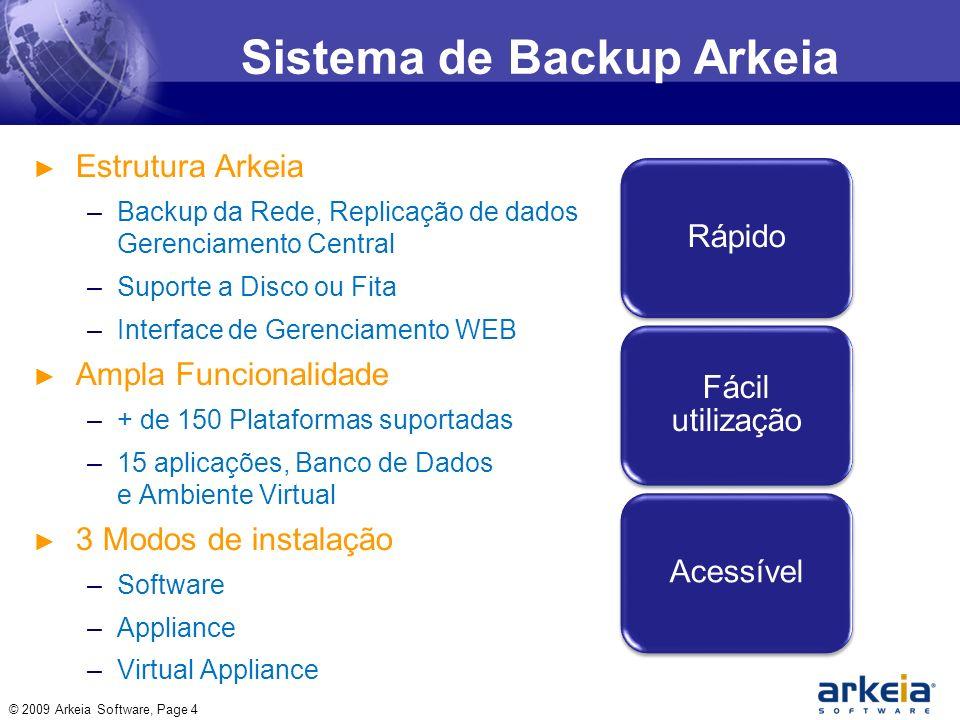 Sistema de Backup Arkeia Estrutura Arkeia –Backup da Rede, Replicação de dados Gerenciamento Central –Suporte a Disco ou Fita –Interface de Gerenciamento WEB Ampla Funcionalidade –+ de 150 Plataformas suportadas –15 aplicações, Banco de Dados e Ambiente Virtual 3 Modos de instalação –Software –Appliance –Virtual Appliance © 2009 Arkeia Software, Page 4 Rápido Fácil utilização Acessível