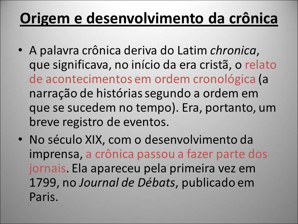 Origem e desenvolvimento da crônica A palavra crônica deriva do Latim chronica, que significava, no início da era cristã, o relato de acontecimentos e