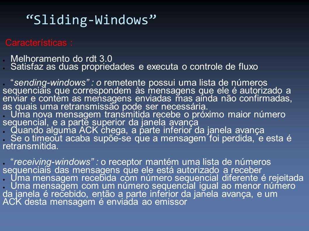 Características : Melhoramento do rdt 3.0 Satisfaz as duas propriedades e executa o controle de fluxo sending-windows : o remetente possui uma lista d