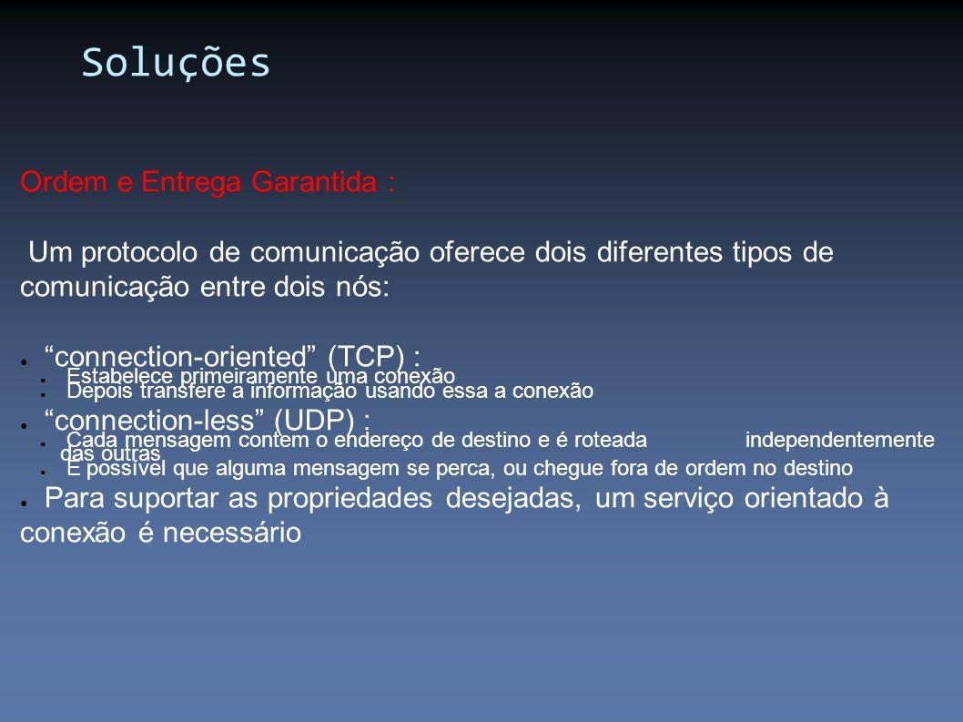 Ordem e Entrega Garantida : Um protocolo de comunicação oferece dois diferentes tipos de comunicação entre dois nós: connection-oriented (TCP) : Estab