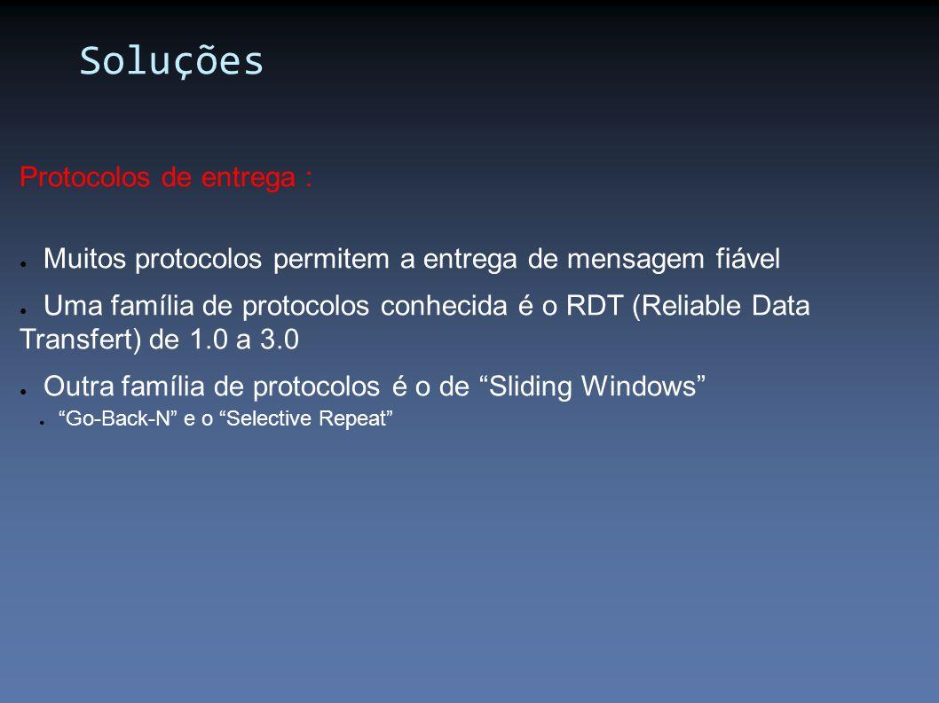 Protocolos de entrega : Muitos protocolos permitem a entrega de mensagem fiável Uma família de protocolos conhecida é o RDT (Reliable Data Transfert)
