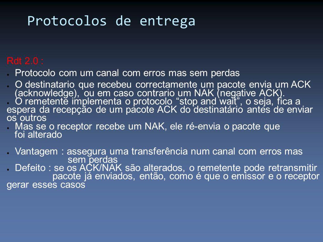 Rdt 2.0 : Protocolo com um canal com erros mas sem perdas O destinatario que recebeu correctamente um pacote envia um ACK (acknowledge), ou em caso co