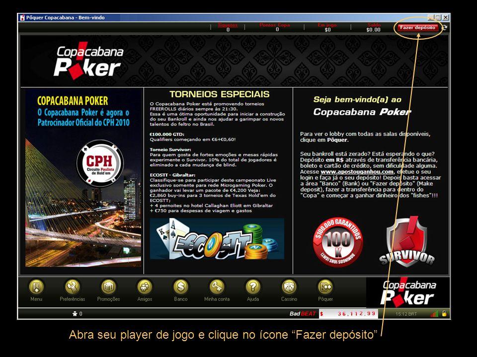 Abra seu player de jogo e clique no ícone Fazer depósito