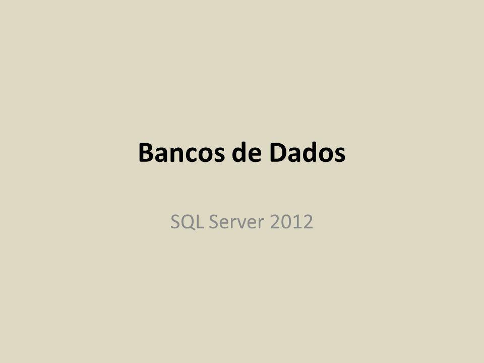 Instalação do banco de dados de exemplo AdventureWorks2012 Baixar arquivo AdventureWorks2012_Data.mdf de ftp://ftp.ifes.edu.br/Cursos/Informatica/ELE- BancosdeDados/SQL2012ExpressInstall/ ftp://ftp.ifes.edu.br/Cursos/Informatica/ELE- BancosdeDados/SQL2012ExpressInstall/ Salvar arquivo baixado em C:\Arquivos de Programas(x86)\Microsoft SQL Server\MSSQL11.SQLEXPRELE2013\MSSQL\DATA Entrar no SSMS (SQL Server Management Studio) Conectar-se a instância SQLEXPRELE2013 como sa Clicar com o botão direito em databases e selecionar Attach...