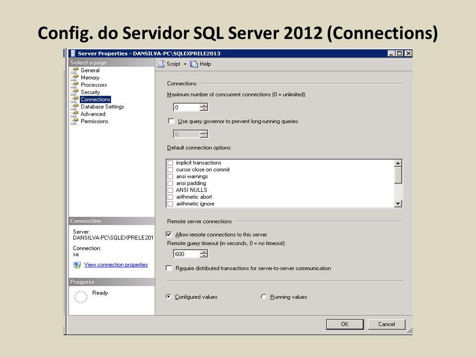 Config. do Servidor SQL Server 2012 (Connections)