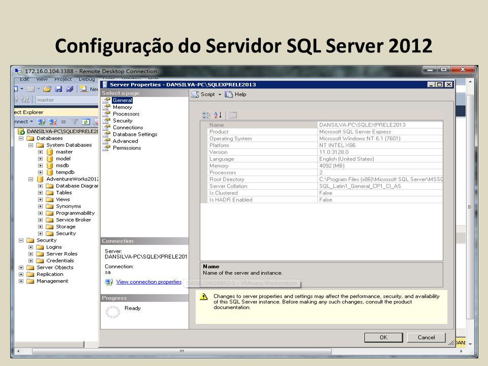 Configuração do Servidor SQL Server 2012 usando sp_configure Listando as opções de configuração avançada Opções de configuração avançada são exibidas pelo primeiro parâmetro show advanced option como 1.