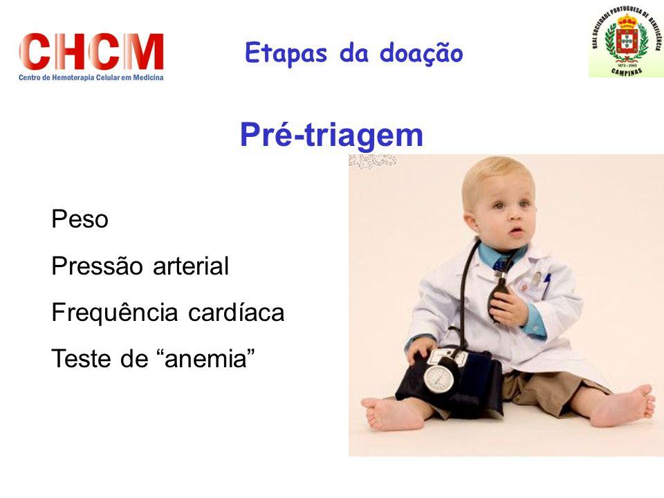 Etapas da doação Pré-triagem Peso Pressão arterial Frequência cardíaca Teste de anemia