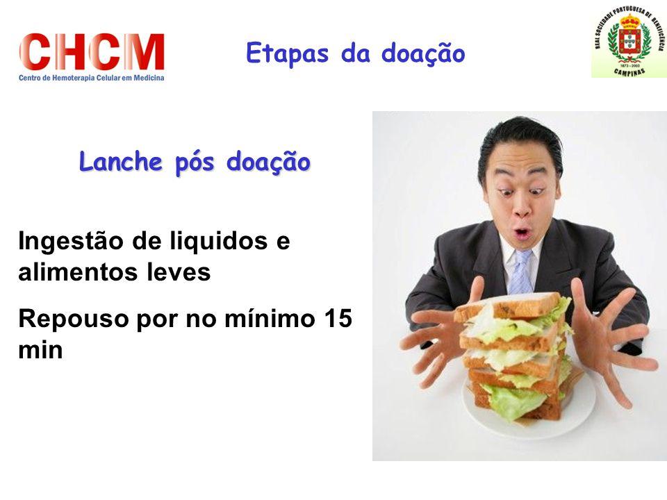 Lanche pós doação Etapas da doação Ingestão de liquidos e alimentos leves Repouso por no mínimo 15 min