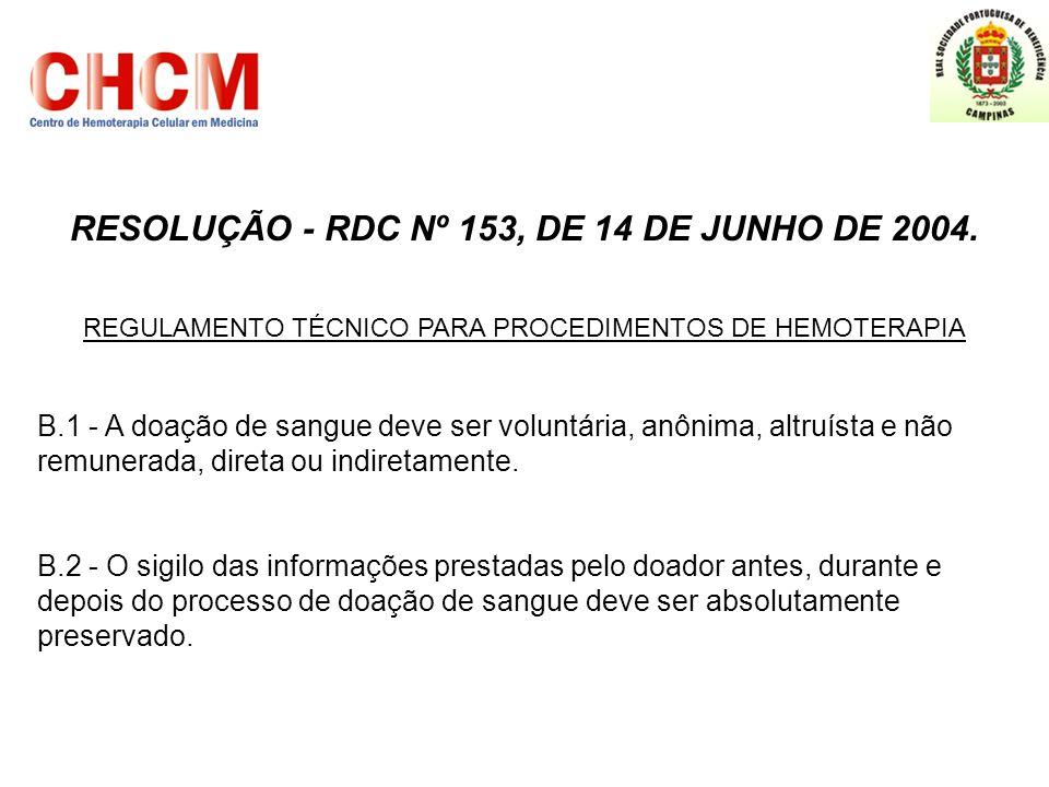 RESOLUÇÃO - RDC Nº 153, DE 14 DE JUNHO DE 2004. REGULAMENTO TÉCNICO PARA PROCEDIMENTOS DE HEMOTERAPIA B.1 - A doação de sangue deve ser voluntária, an