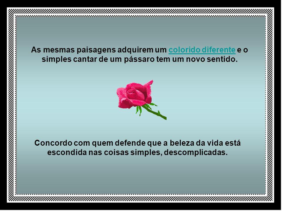 Concordo com quem defende que a beleza da vida está escondida nas coisas simples, descomplicadas.