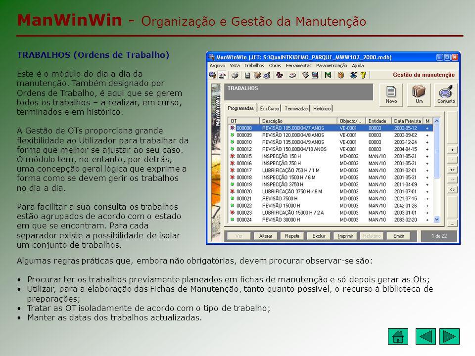 ManWinWin - O rganização e Gestão da Manutenção ESTADOS DOS TRABALHOS Durante a sua existência, um trabalho pode passar pelos seguintes estados: Programado – Aplica-se apenas para os trabalhos que podem ser planeados.