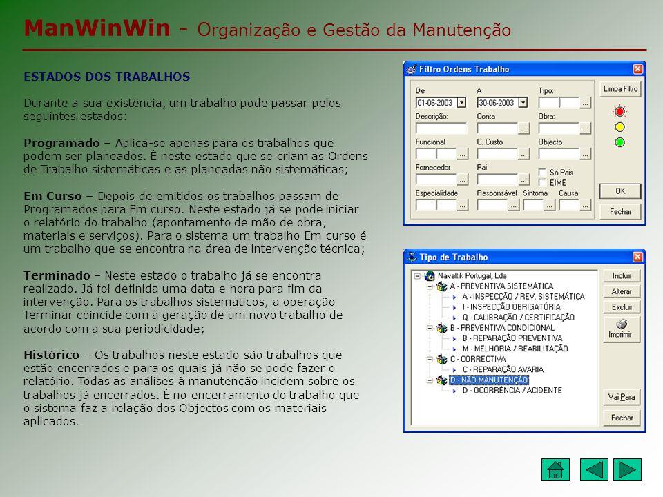 ManWinWin - O rganização e Gestão da Manutenção RELATÓRIO DOS TRABALHOS Desde o momento em que a OT é emitida (encontra- se em curso) pode-se iniciar o relatório do trabalho.
