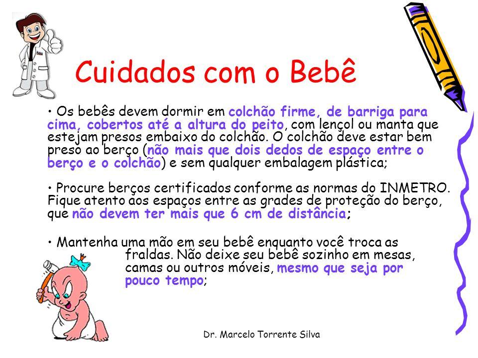 Dr. Marcelo Torrente Silva Cuidados com o Bebê Os bebês devem dormir em colchão firme, de barriga para cima, cobertos até a altura do peito, com lenço