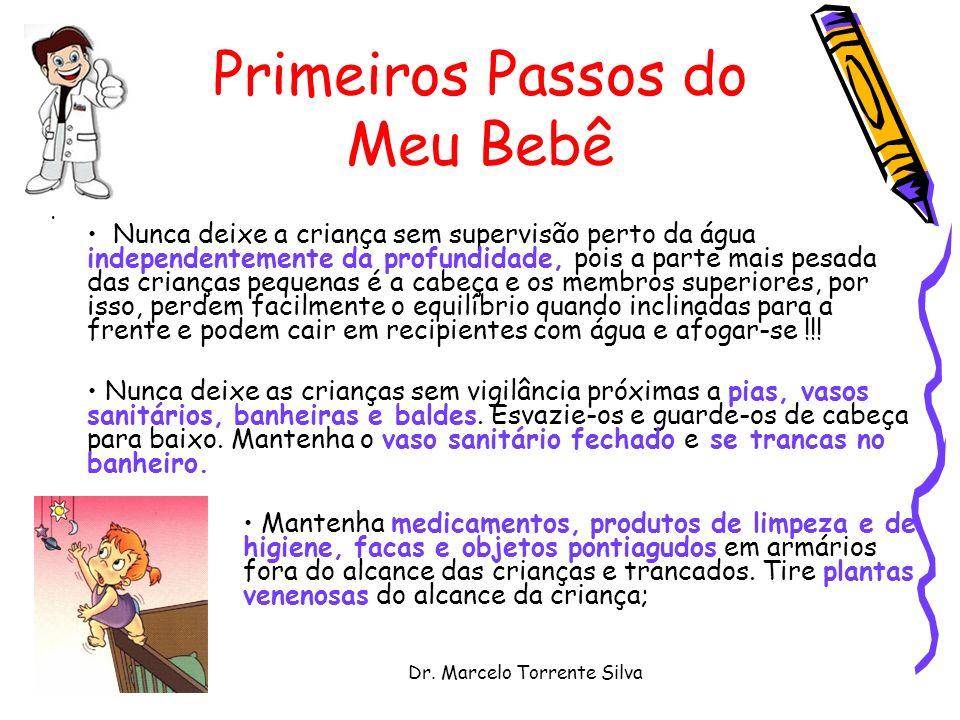Dr. Marcelo Torrente Silva Primeiros Passos do Meu Bebê Nunca deixe a criança sem supervisão perto da água independentemente da profundidade, pois a p